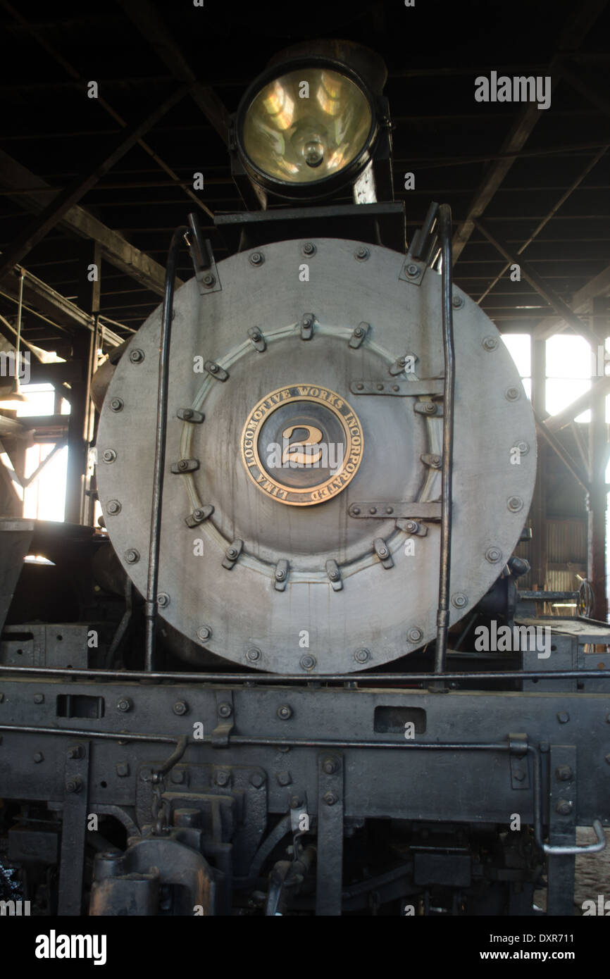 A Lima locomotive steam engine at the 1897 California Railroad Museum in Jamestown, Ca USA Stock Photo
