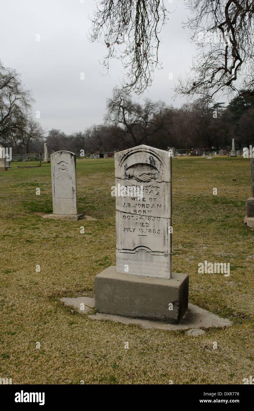 1800s cemetery marker Sanger, California USA - Stock Image