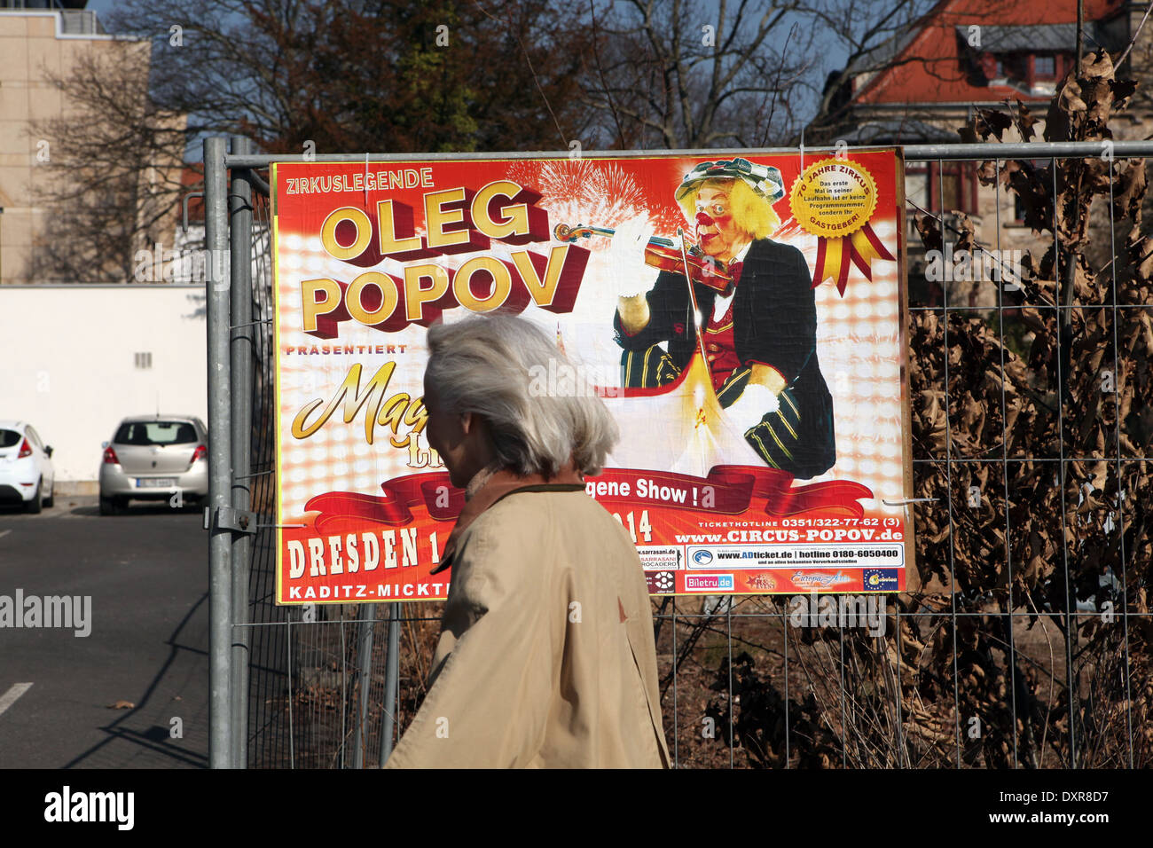A poster for the new show 'Magic Life' of famous Russian clown Oleg Popov seen in Dresden, Germany. - Stock Image