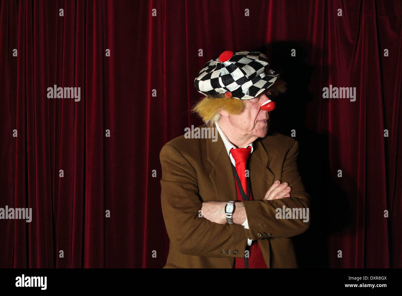 Famous Russian clown Oleg Popov, at age 83, prepares for his new show 'Magic Life' in Dresden, Germany. - Stock Image