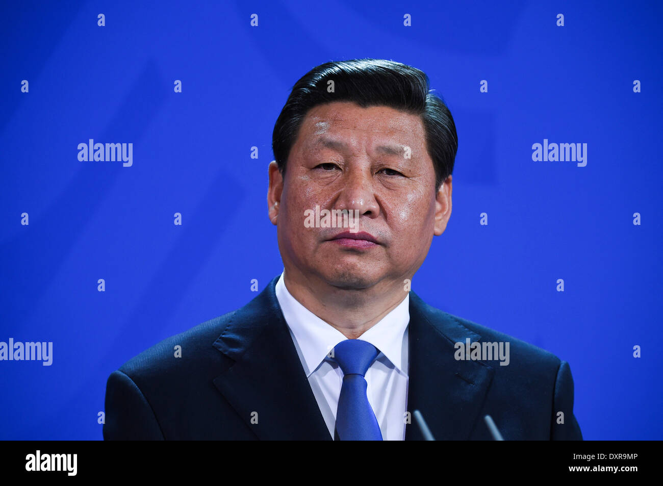 Xi Jinping politician of the People's Republic of China President of his country. in the federal press conference at the Federal Chancellery on Tuesday March 28 2014 in Berlin - Stock Image