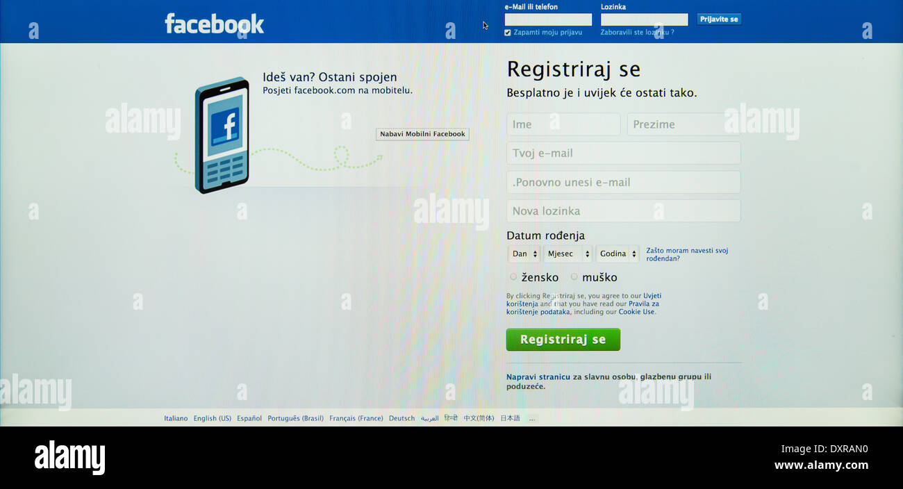registration page on facebook in    croatian  language - Stock Image