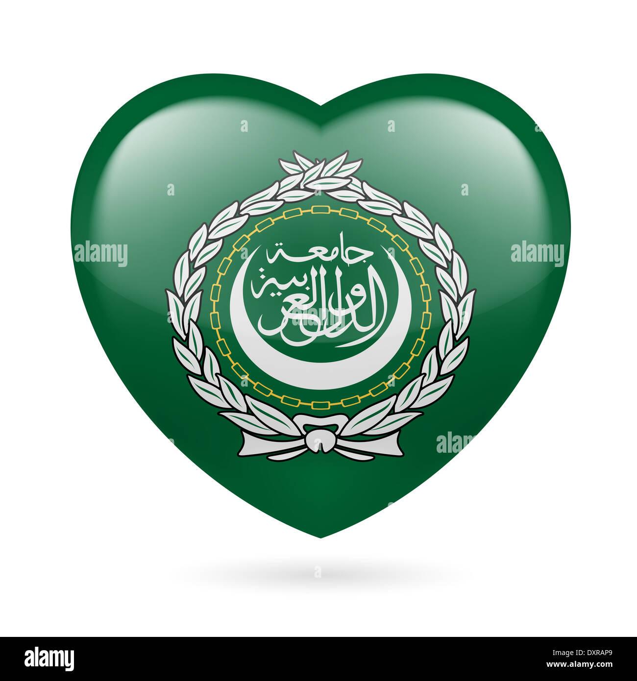I love Arab League. Heart with flag design - Stock Image