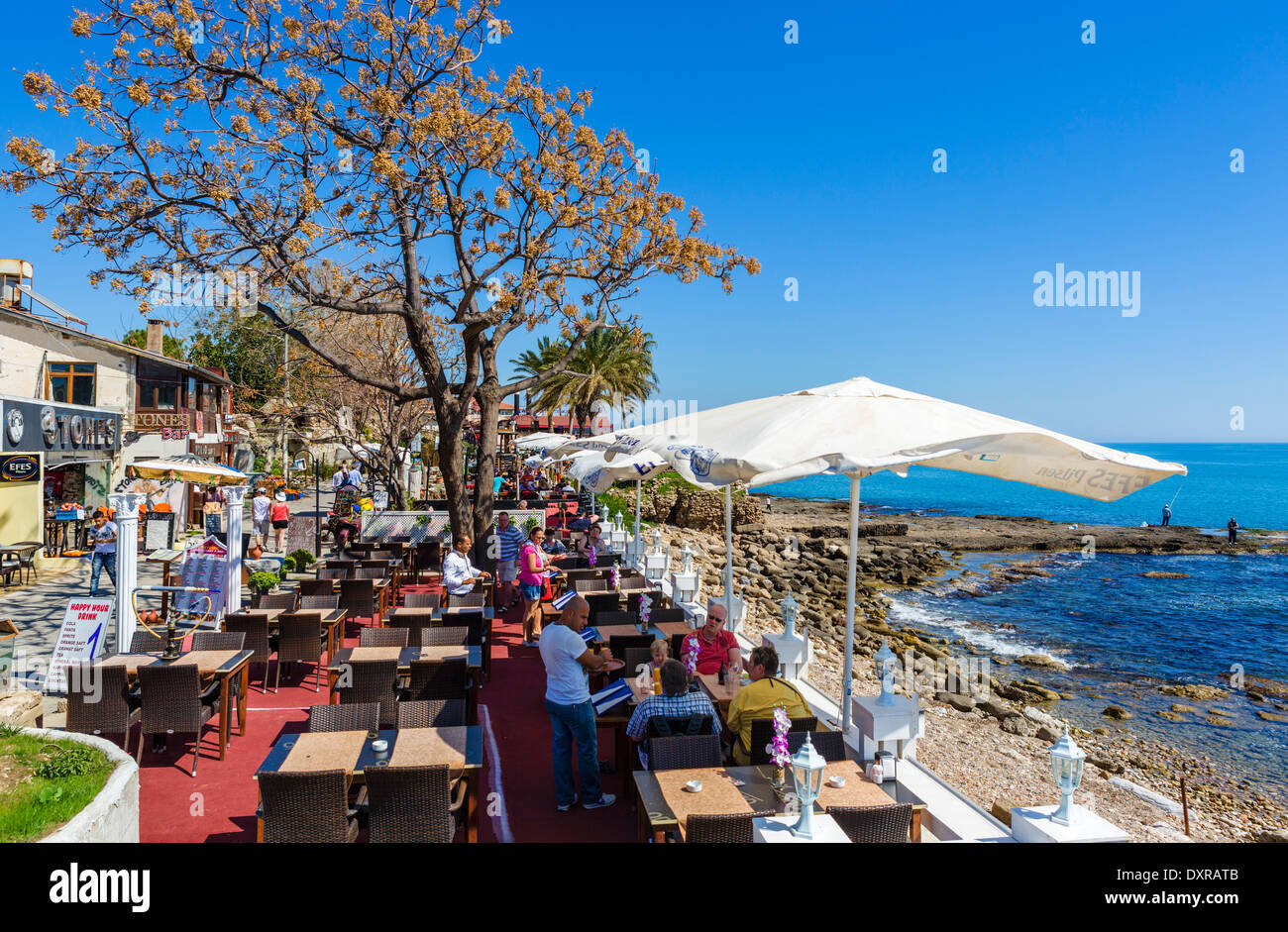 Waterfront restaurant in the old town, Side, Antalya Province, Turkey - Stock Image