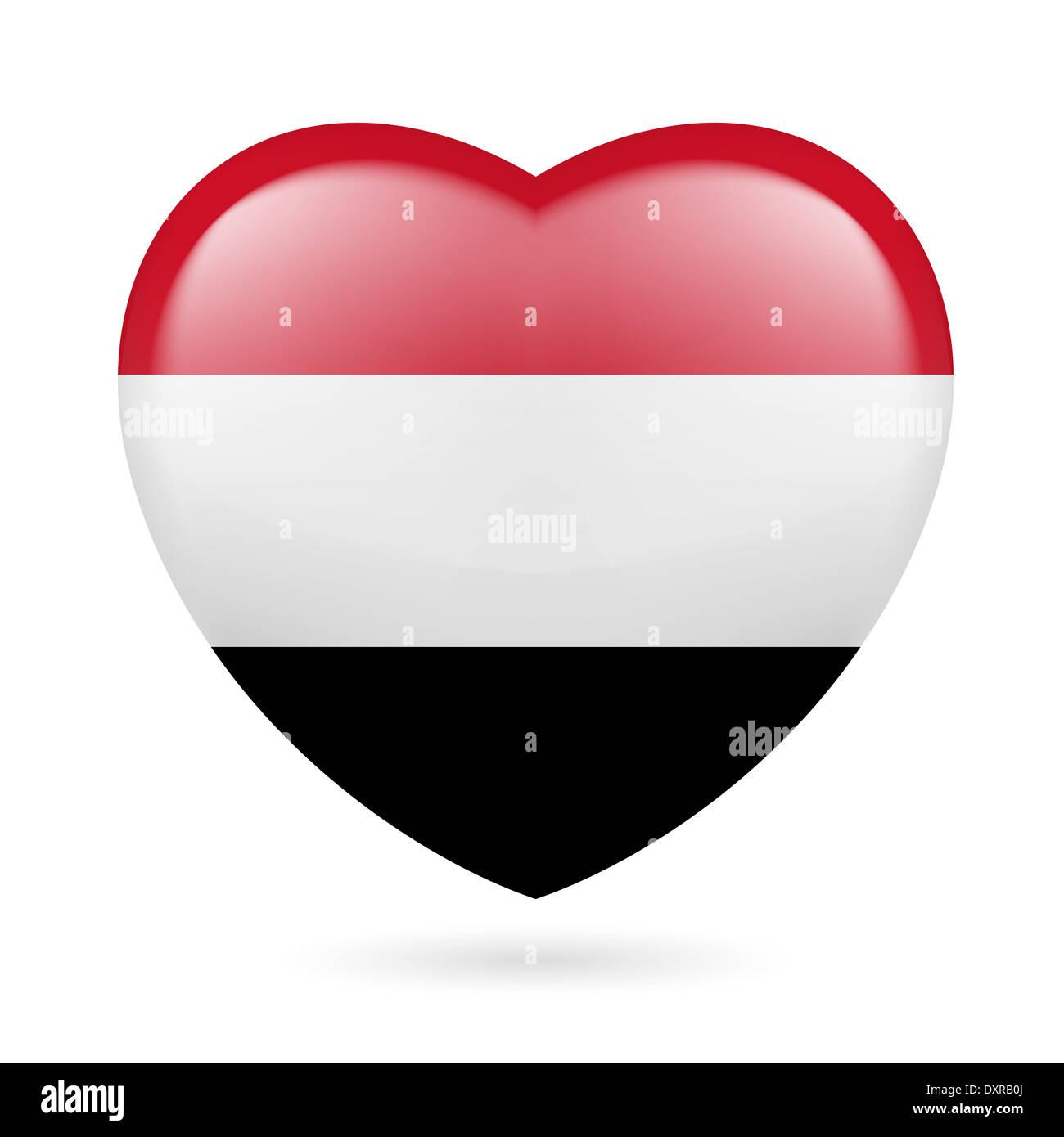 Heart with Yemeni flag colors. I love Yemen - Stock Image