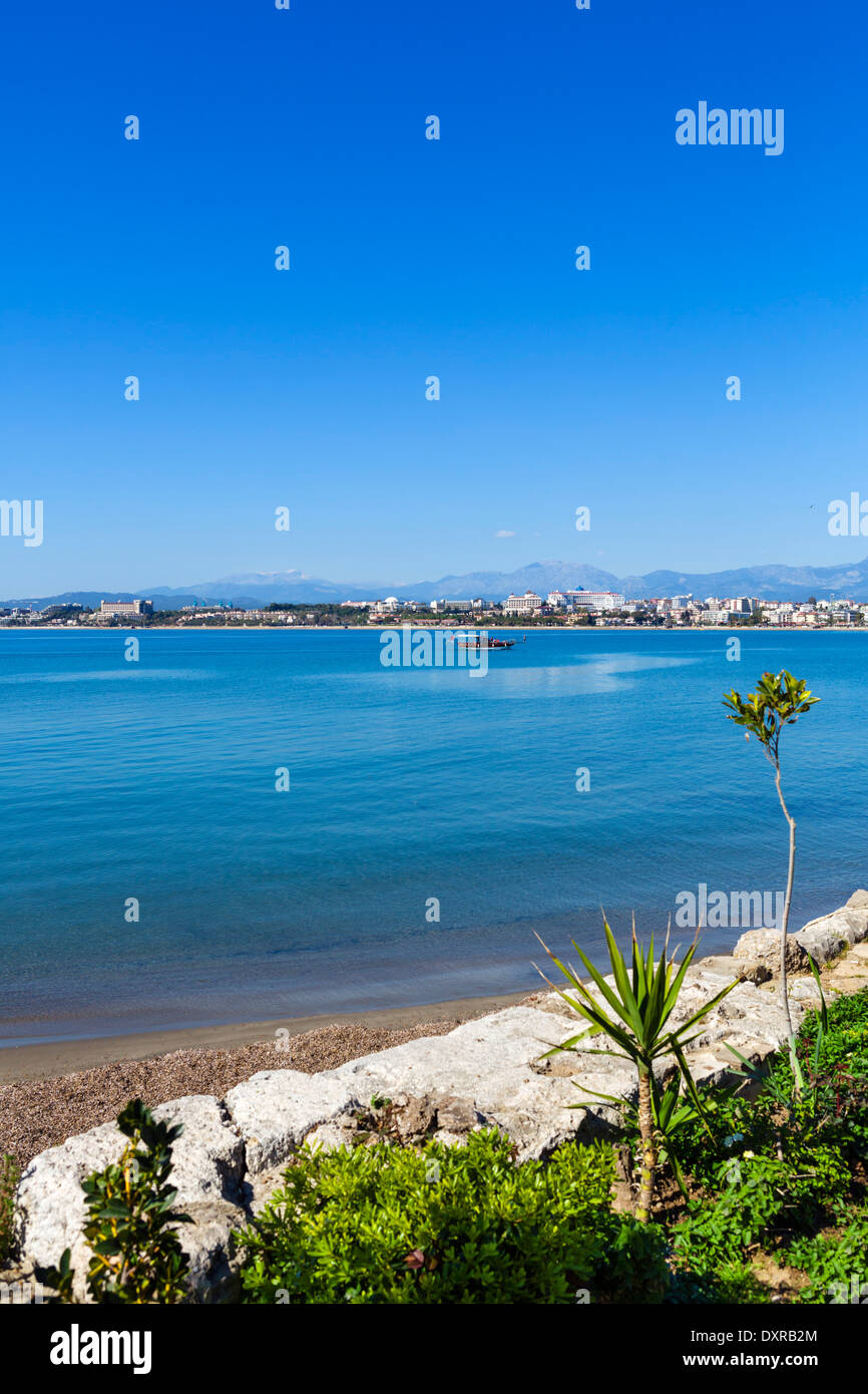 View from the old town towards the resort beaches and hotel zone to the west, Side, Antalya Province, Turkey - Stock Image