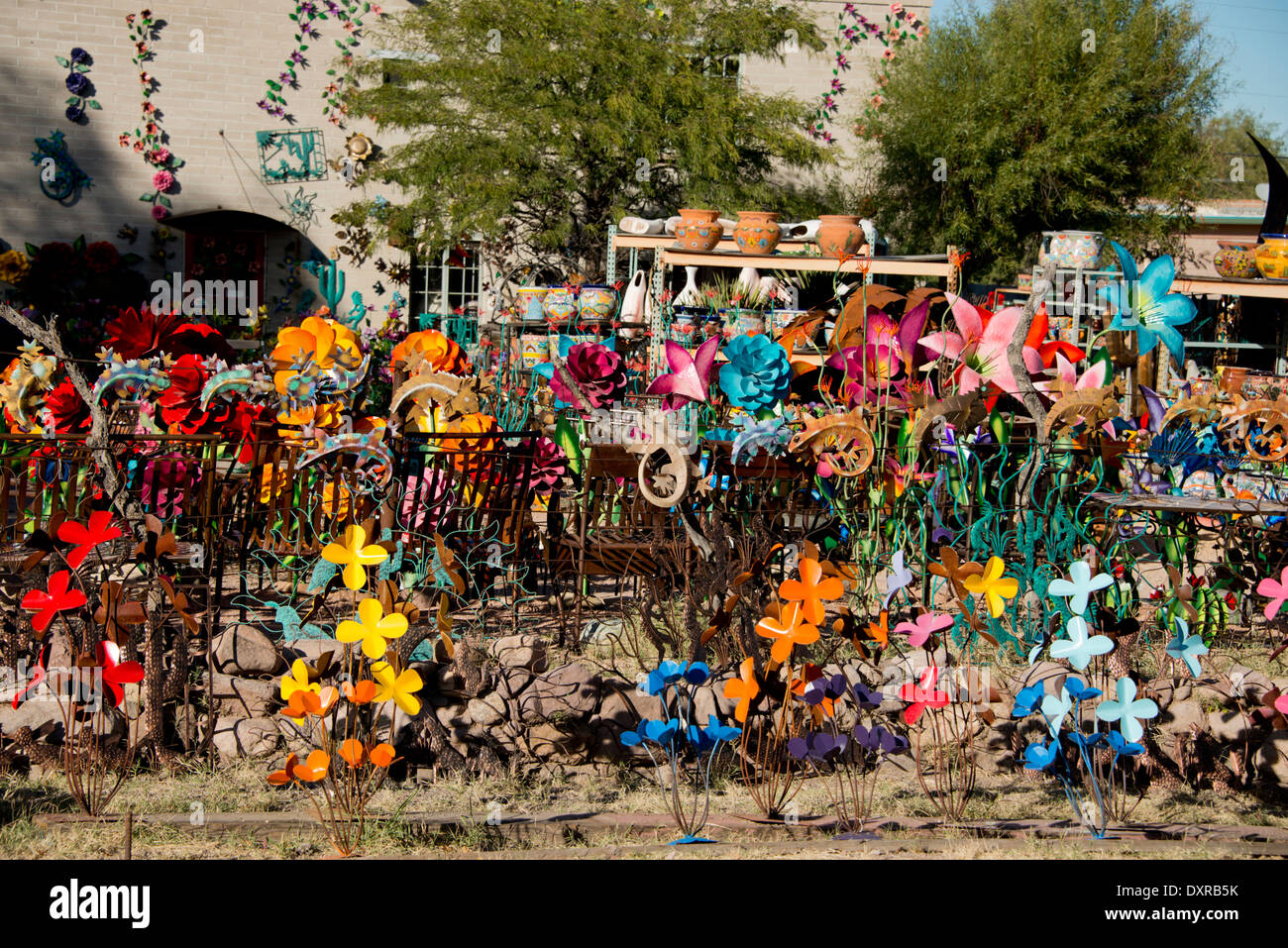 Arizona, Tucson, Tubac  Colorful metal yard and garden sculpture
