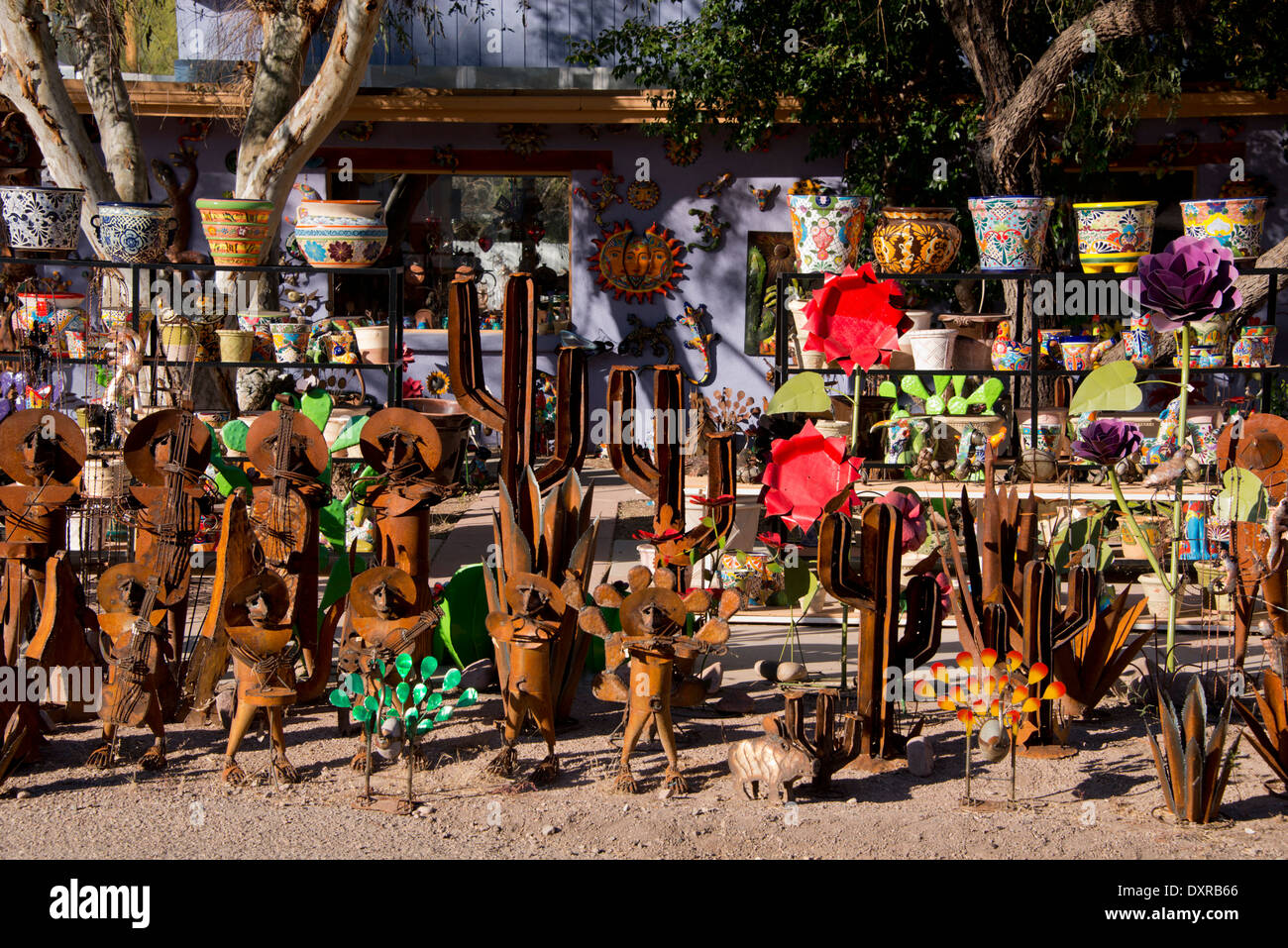 Arizona, Tucson, Tubac. Colorful metal yard and garden sculpture ...