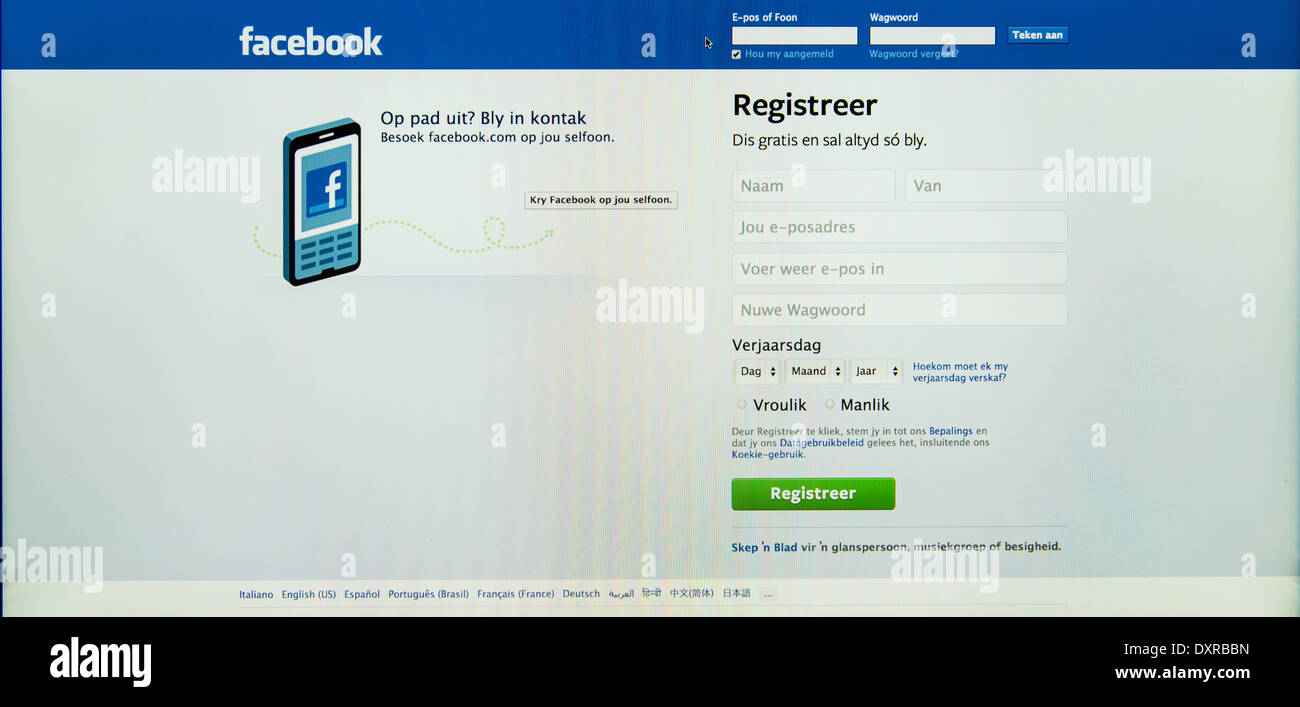 registration page on facebook in       afrikaans                language - Stock Image