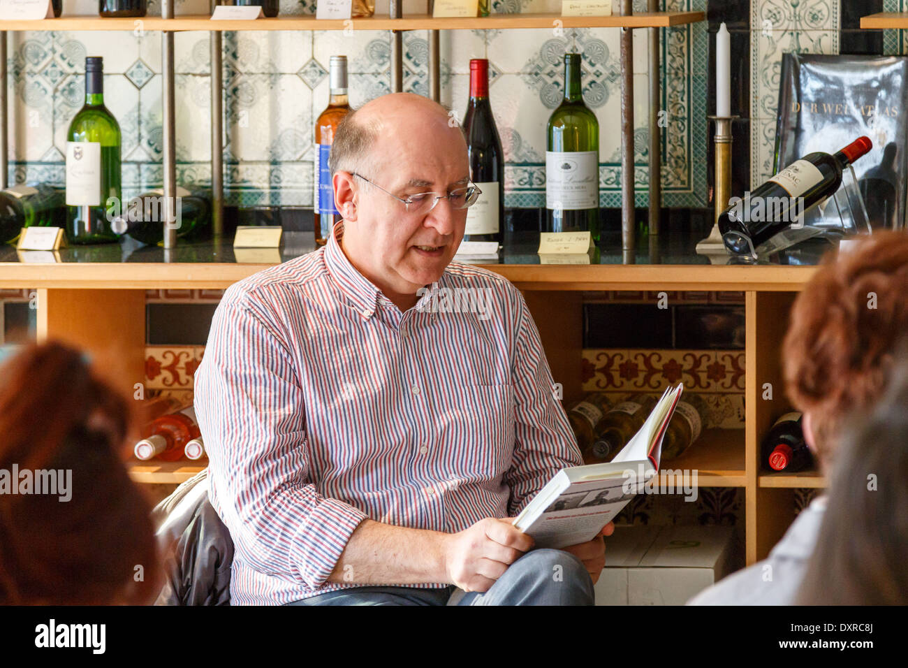 German journalist and author Peter Wensierski reads from his book 'Die verbotene Reise' in Berlin, Germany on March 29, 2014. - Stock Image