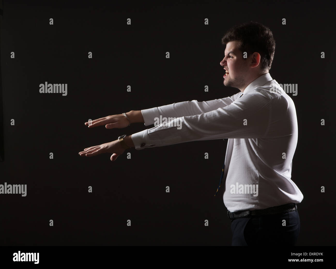 Zombie man. Businessman like a zombie. Well dressed. - Stock Image