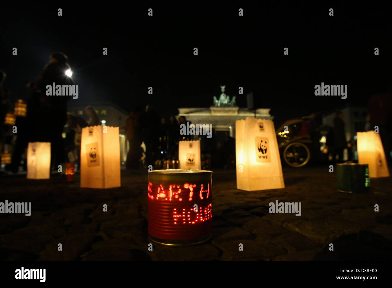Berlin. 29th Mar, 2014. Photo taken on March 29, 2014 shows the candles in front of the Brandenburg Gate during Stock Photo