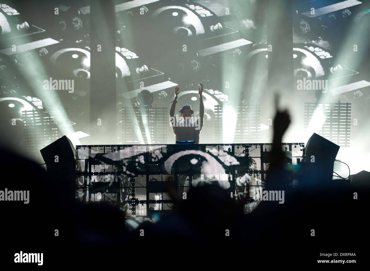 Santiago, Chile. 29th Mar, 2014. DJ and producer Baauer performs during the Lollapalooza Festival 2014 at the O'Higgins Park in Santiago, Chile, March 29, 2014. Credit:  Jorge Villegas/Xinhua/Alamy Live News - Stock Image