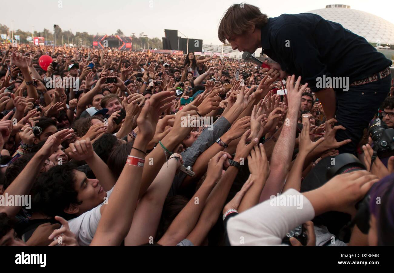 Santiago, Chile. 29th Mar, 2014. French band Phoenix performs during the Lollapalooza Festival 2014 at the O'Higgins Park in Santiago, Chile, March 29, 2014. Credit:  Jorge Villegas/Xinhua/Alamy Live News - Stock Image