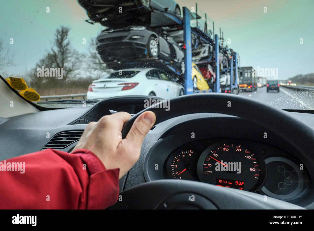 Driving on motorway in bad weather, United Kingdom - Stock Image