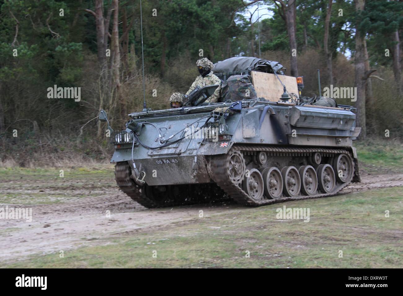 AFV432 APC on exercise on Salisbury Plain Training Area . - Stock Image