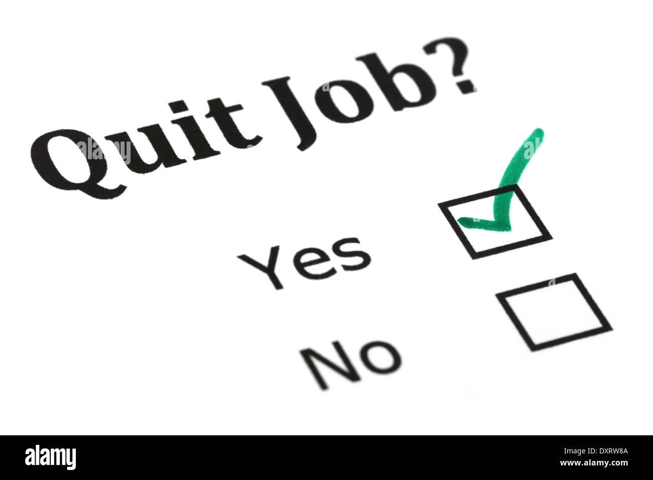 Quit job check mark on white paper - Stock Image