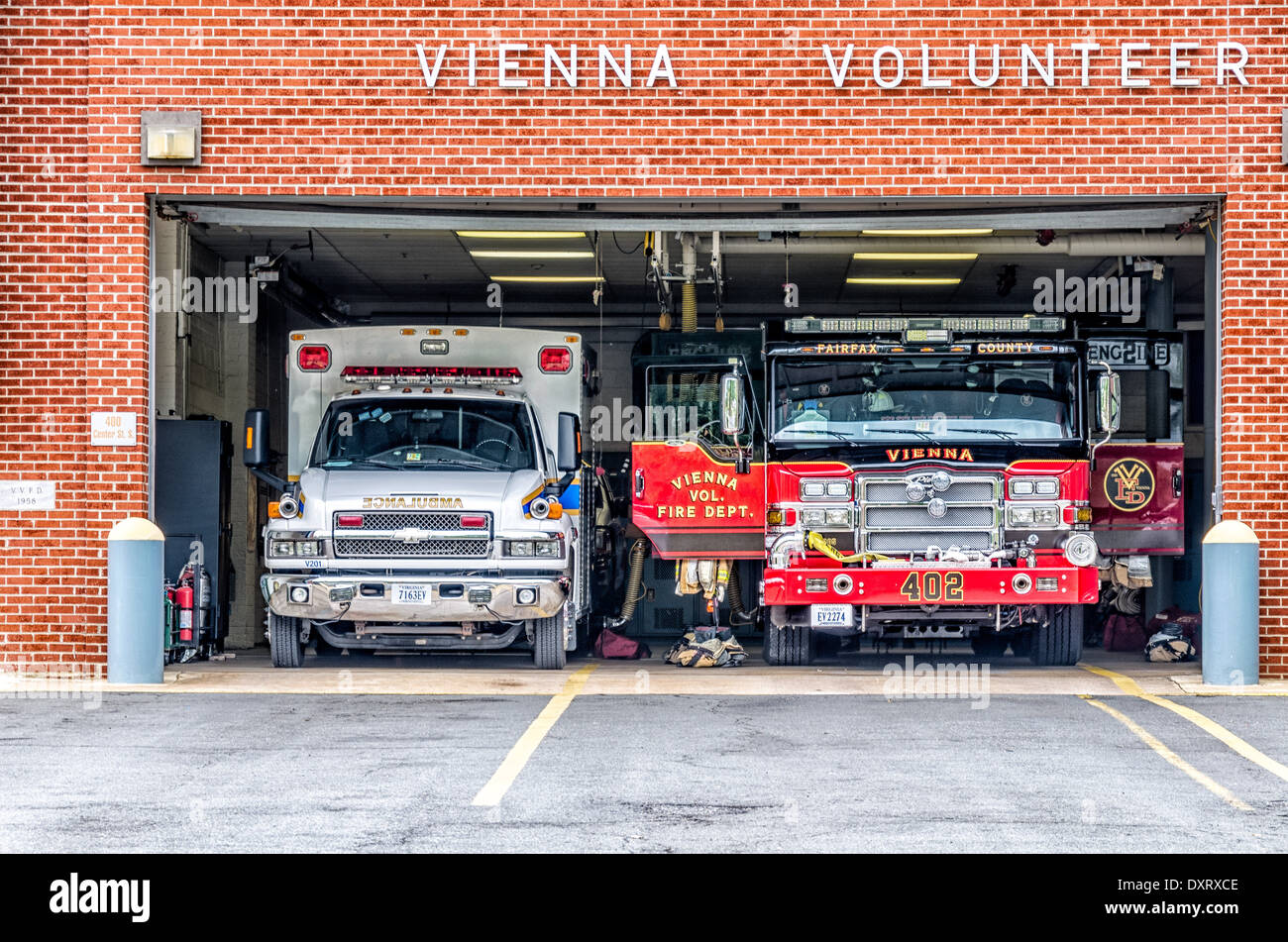 Vienna Volunteer Fire Department, Center Street, Vienna, Virginia - Stock Image