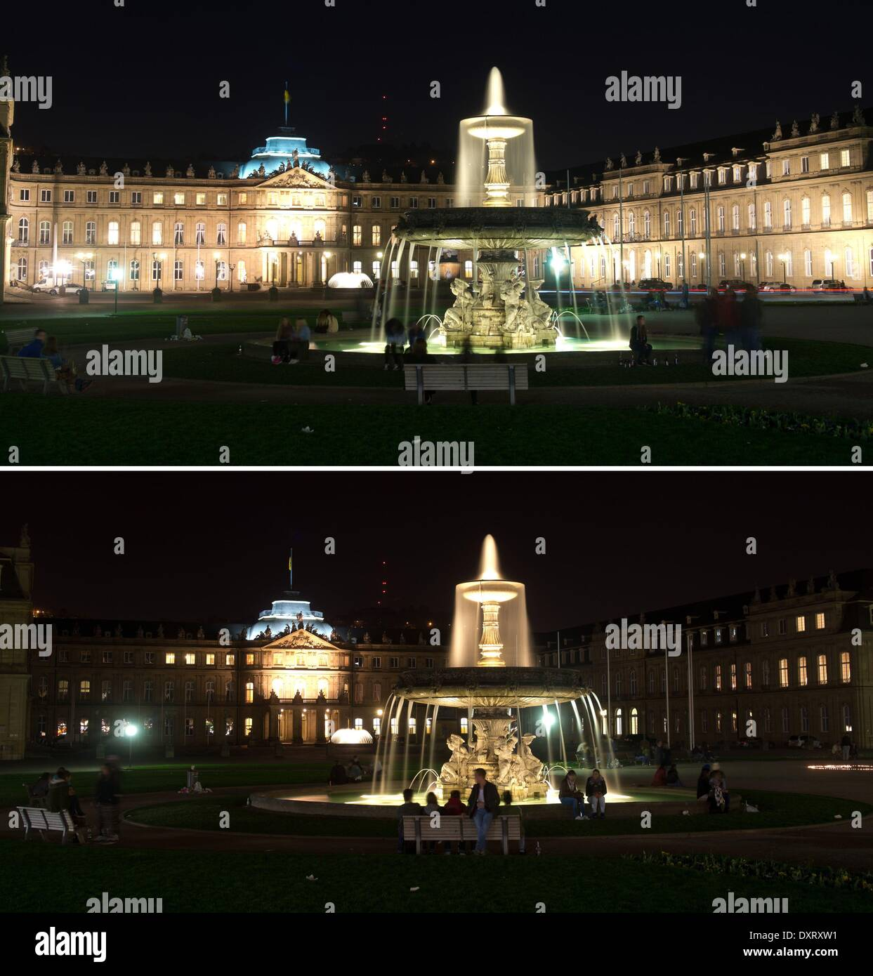 Stuttgart, Germany. 29th Mar, 2014. The composite picutre shows the lit (top) and the unlit Neue Schloss palace during the so called 'Earth Hour' event in Stuttgart, Germany, 29 March 2014. 'Earth Hour' is a worldwide event which aims to set a sign for environmental protection and to draw attention to environmental awareness. Photo: Sebastian Kahnert/dpa/Alamy Live News - Stock Image