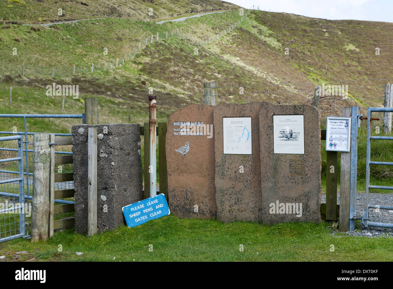 RSPB visiotrs notice board at at Hermaness NNR, Unst, Shetland Isles, Scotland, UK - Stock Image