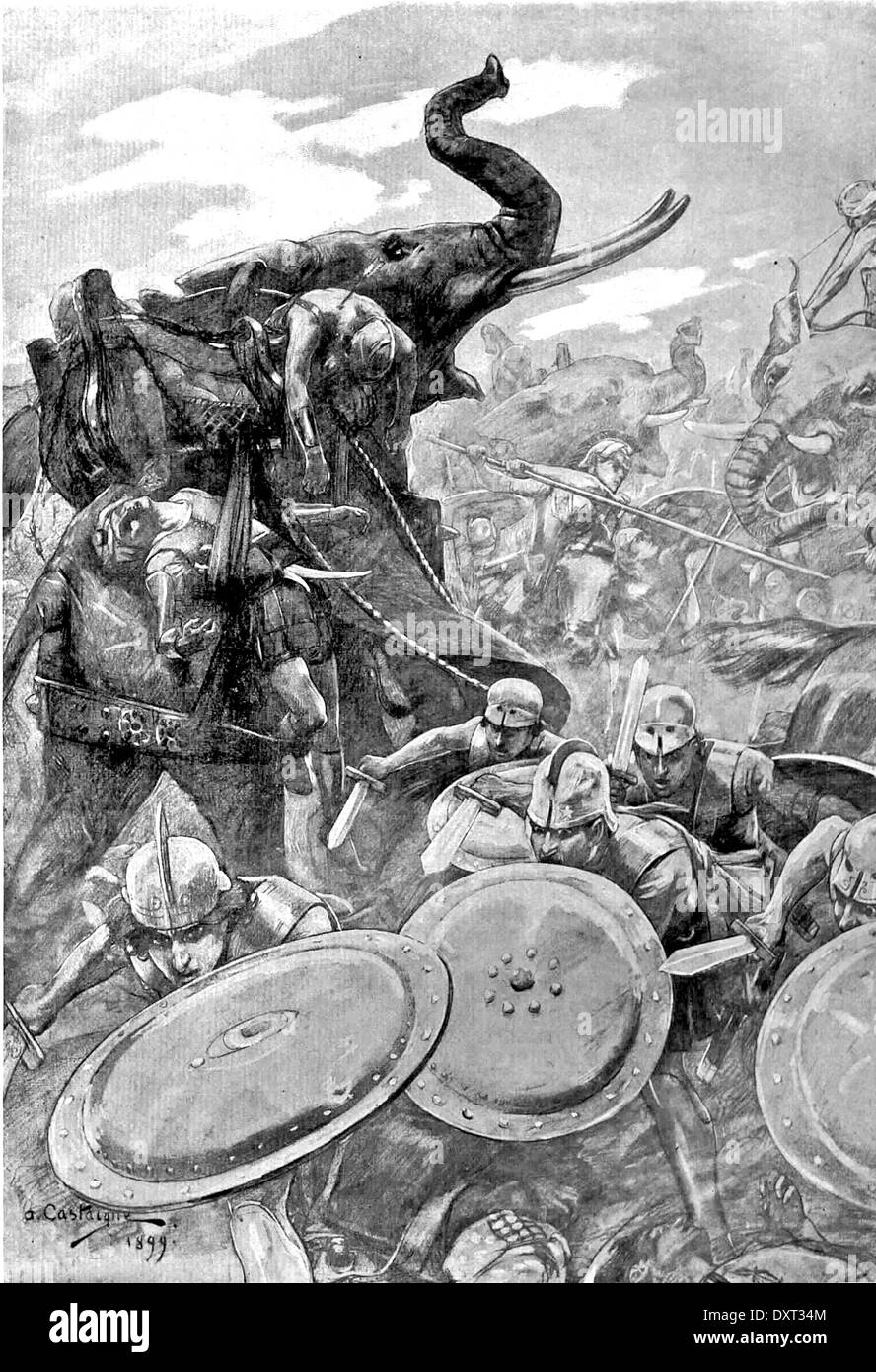 Alexander the Great. The phalanx attacking in the Battle of the Hydaspes - Stock Image