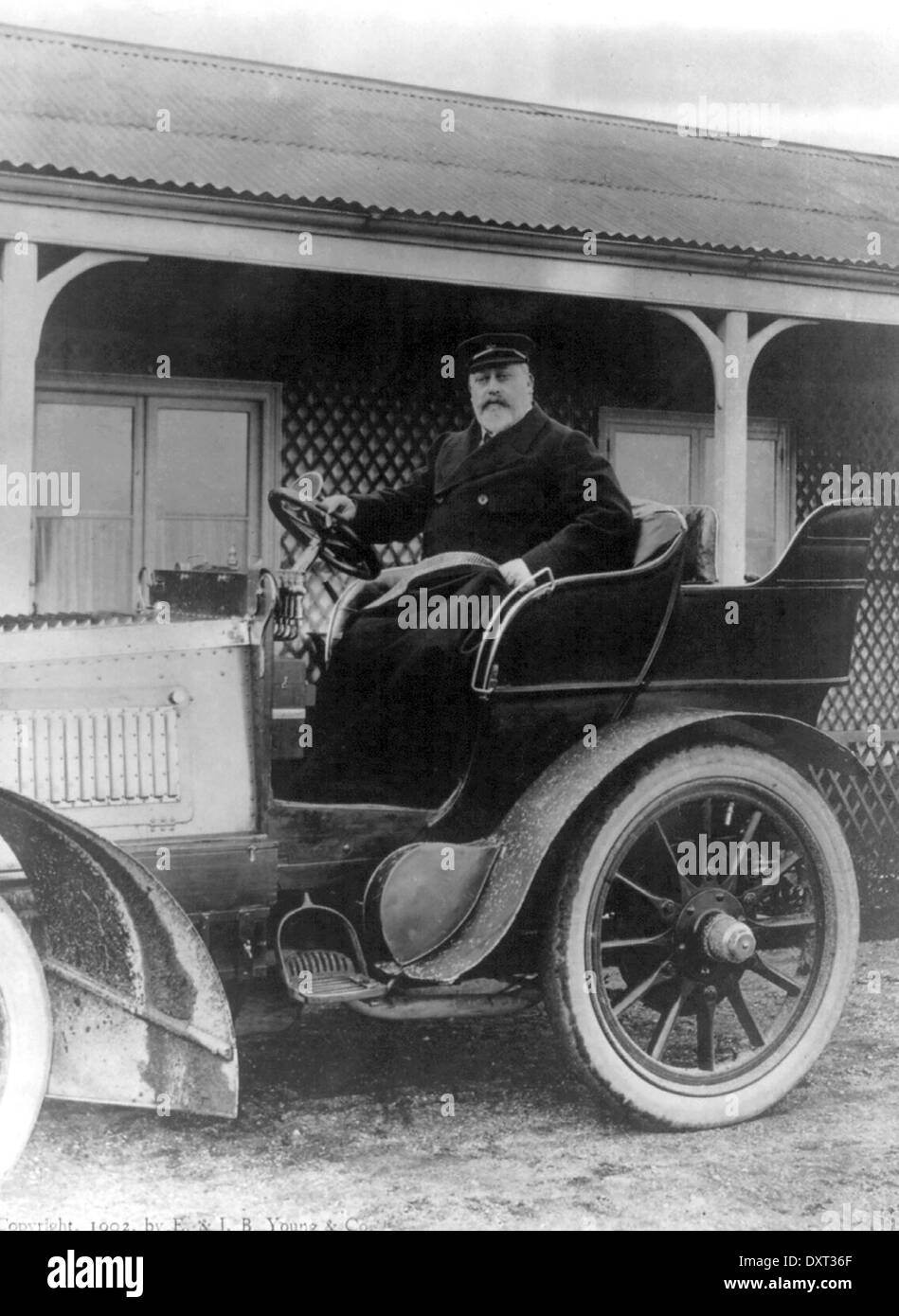 King Edward VII of England in a car - Stock Image