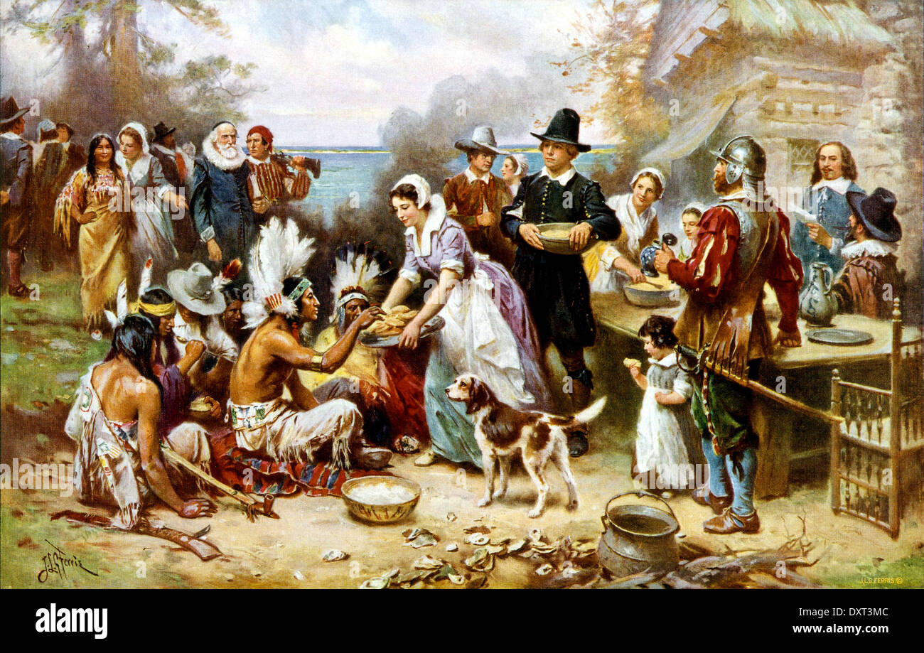 The First Thanksgiving Day, Plymouth, America 1621 - Stock Image
