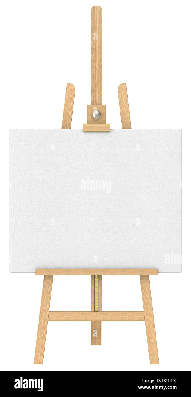 front view of an easel and canvas isolated stock photo 68142128
