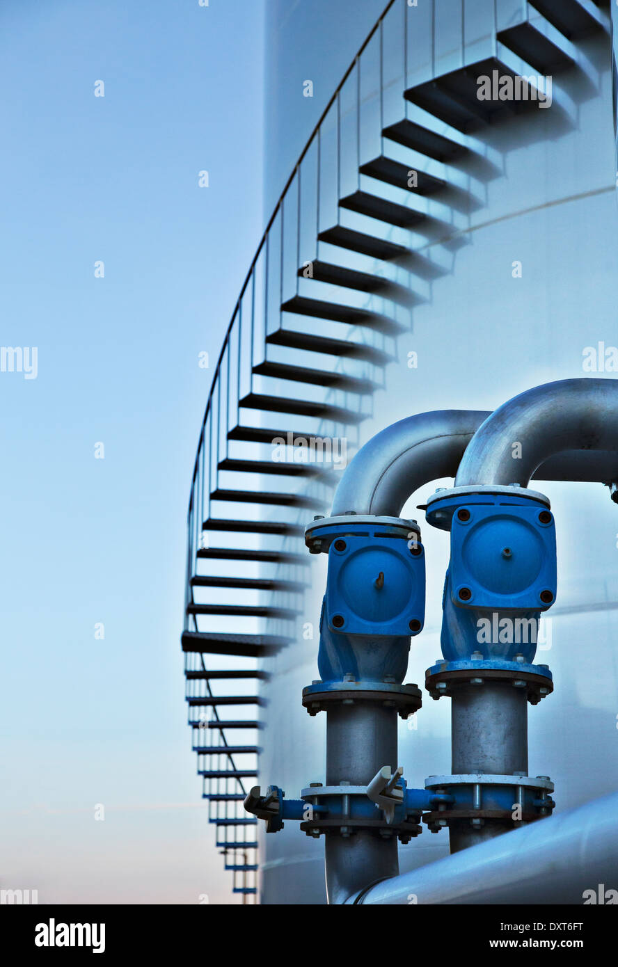 Stairs winding around silage storage tower - Stock Image