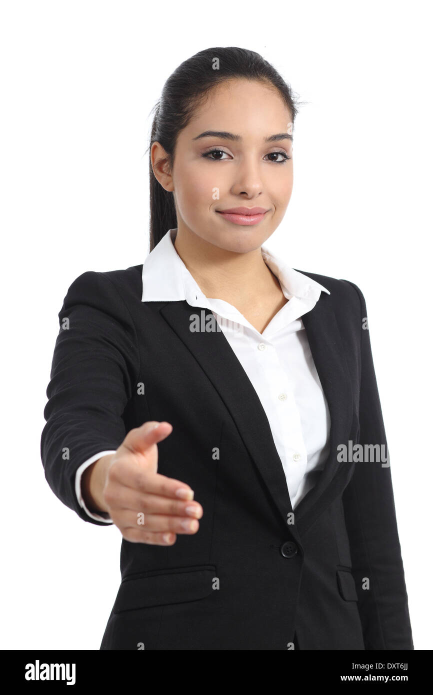 Arab business woman ready to handshake isolated on a white background Stock Photo