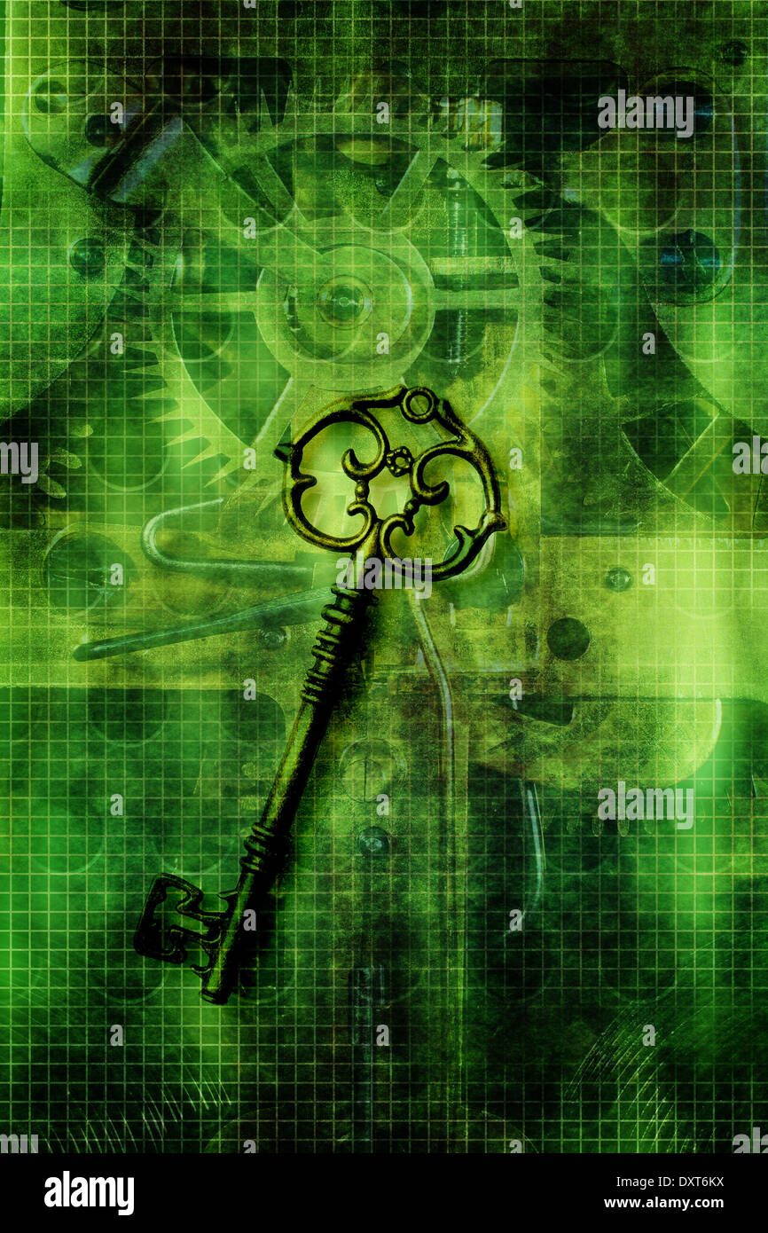 steampunk key over steampunk background - Stock Image
