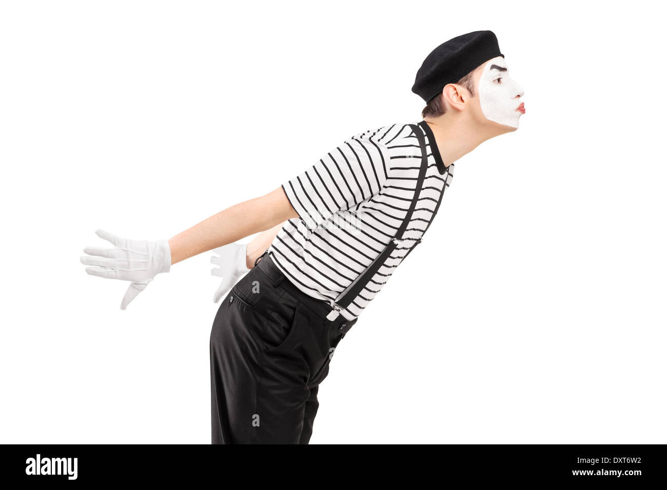 Male mime artist gesture kissing - Stock Image