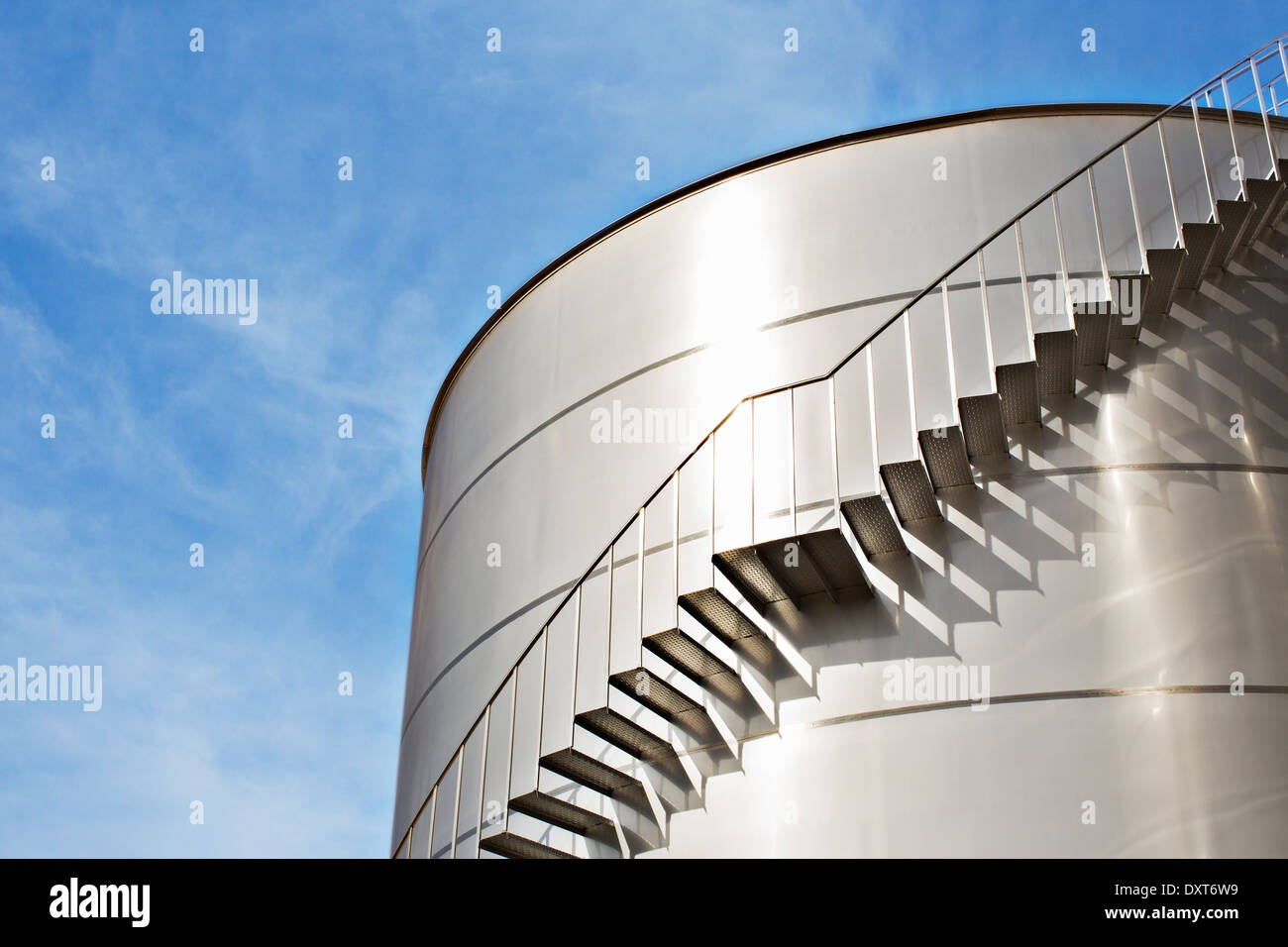 Stairs along silage storage tower - Stock Image