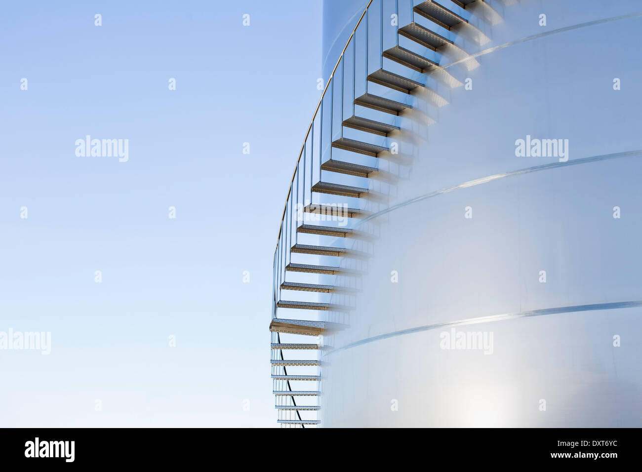 Stairs winding along silage storage tower - Stock Image