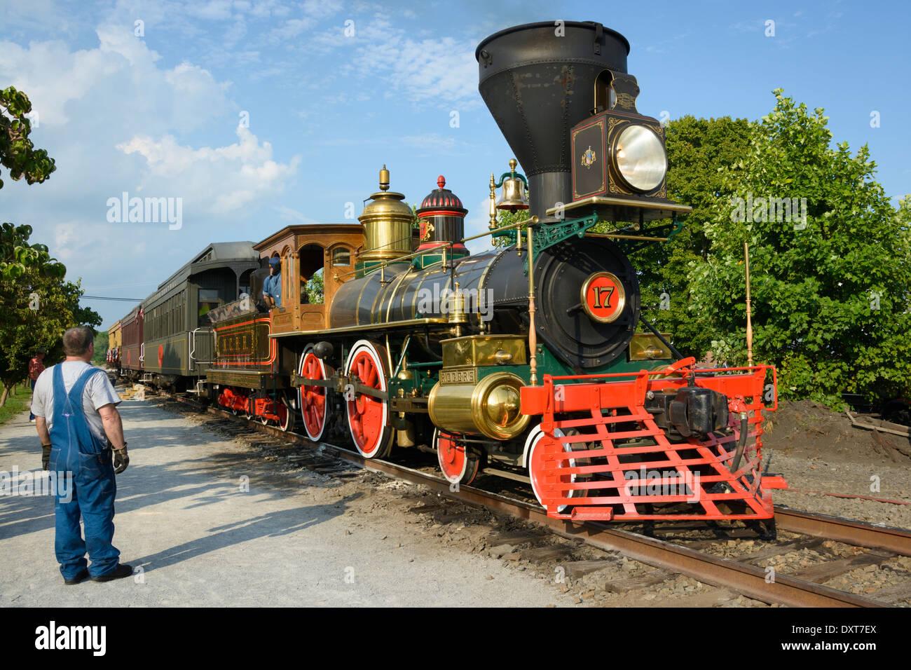 Antique Train Headlight : Vintage steam engine locomotive replica stock photo