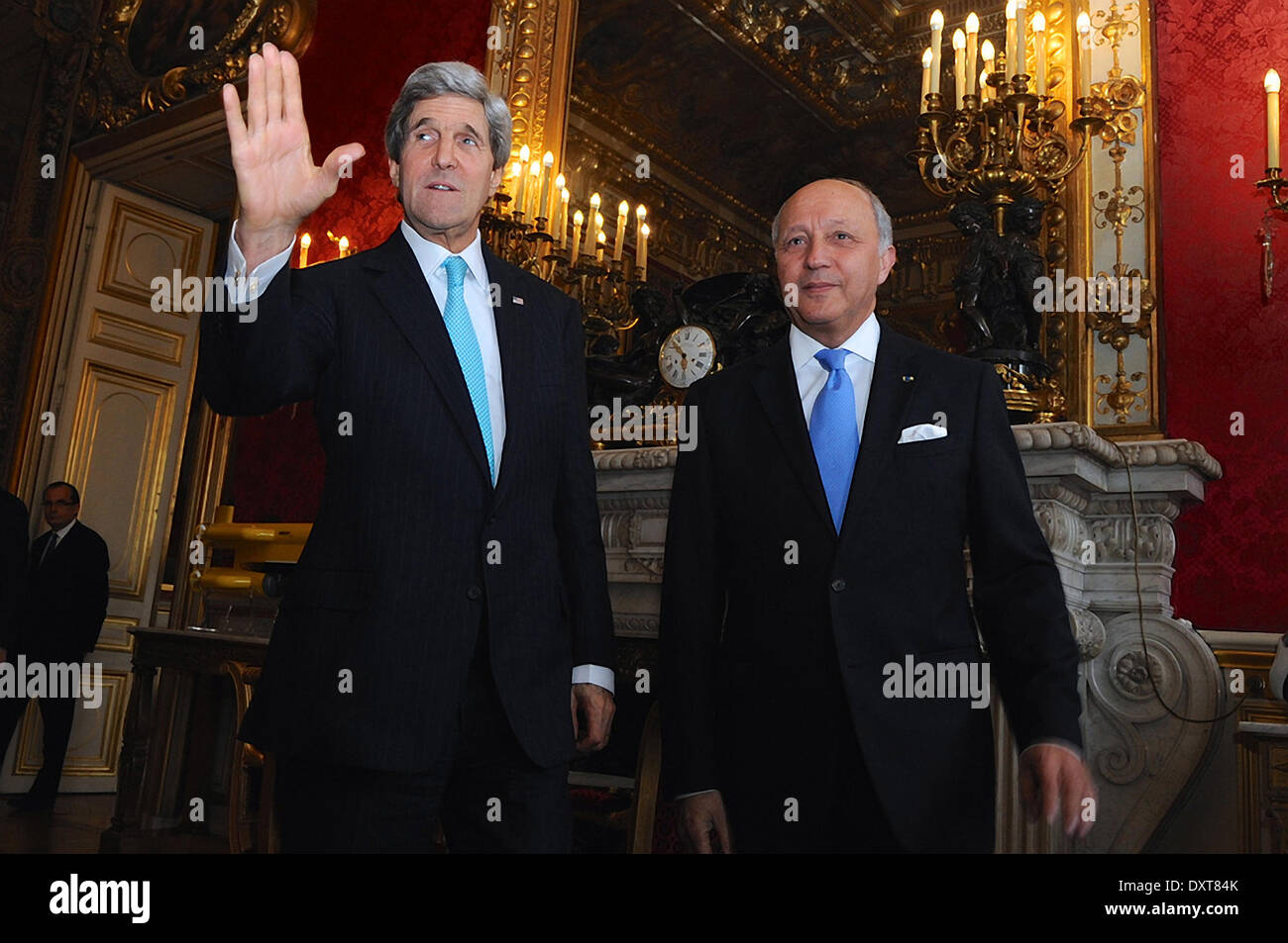 US Secretary of State John Kerry and French Foreign Minister Laurent Fabius meet to discuss the crisis in Ukraine March 30, 2014 in Paris, France. - Stock Image