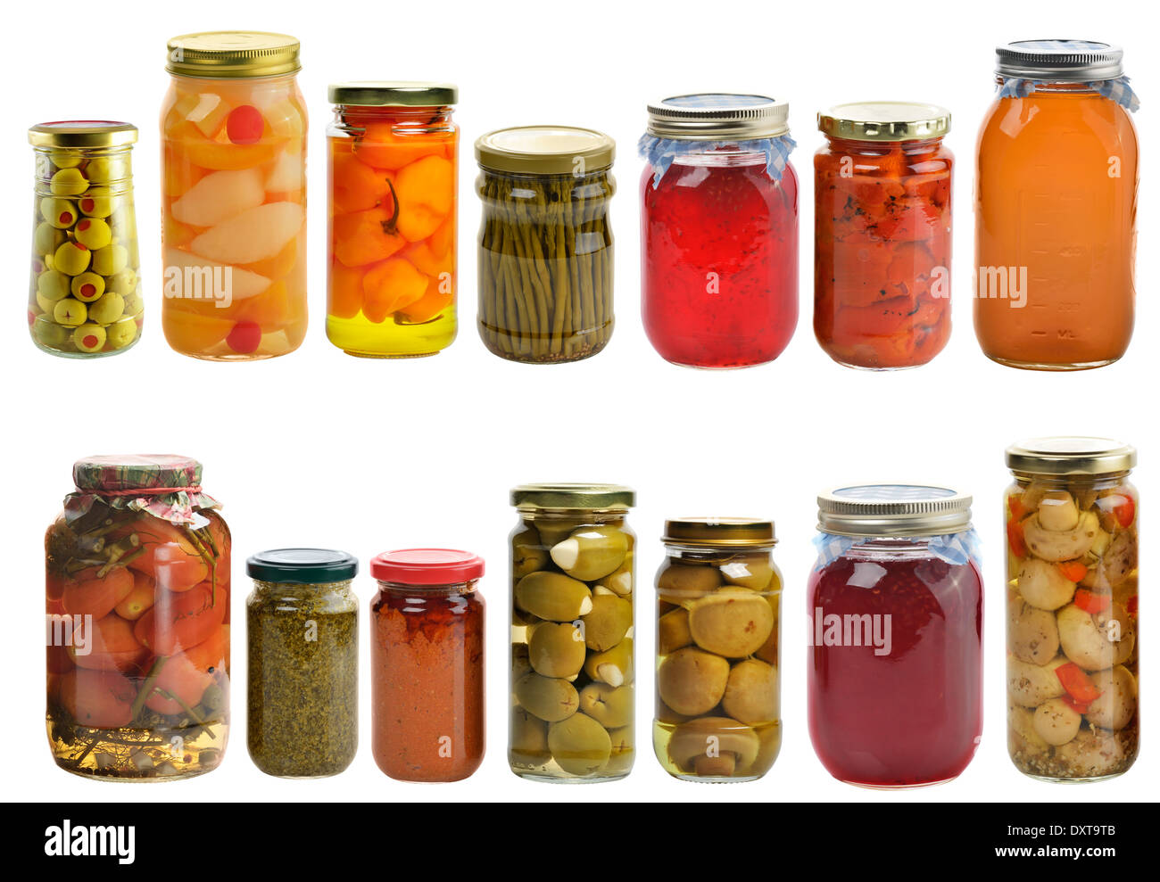 Preserved Food Collection Isolated On White Background - Stock Image