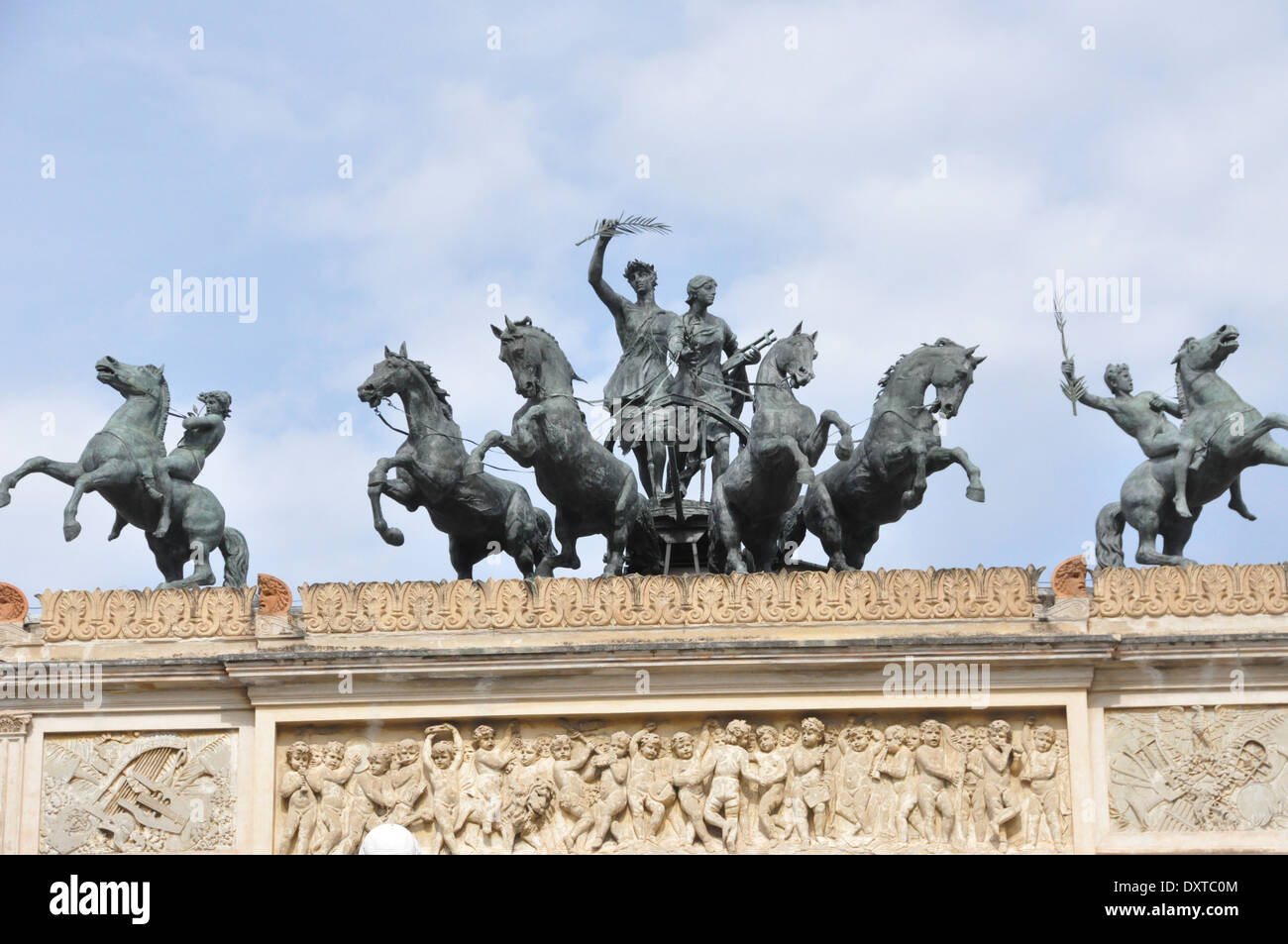 Statues of Garibaldi and horsemen on top of the arch in front of the Teatro Politeama Garibaldi, Palermo, Sicily Stock Photo