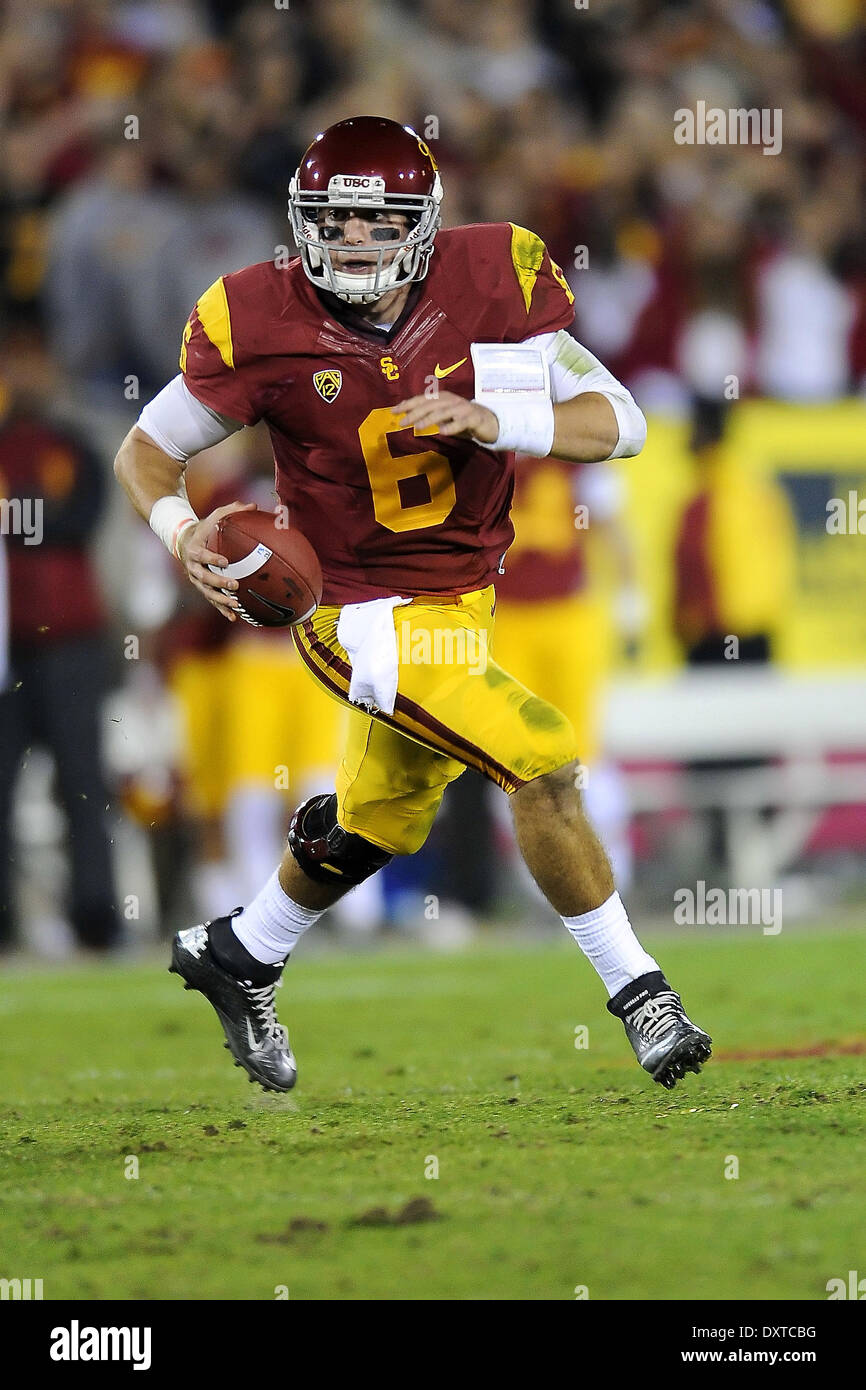 November 30, 2013 Cody Kessler of the USC Trojans in action during a 35-14 loss to the crosstown rival UCLA Bruins at the Los Angeles Coliseum in Los Angeles, California. John Pyle/CSM. - Stock Image