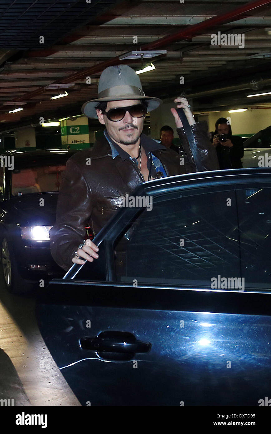 Beijing, China. 31st Mar, 2014. Johnny Depp arrives at a hotel in China's Beijing for the promotion of upcoming film 'Transcendence,' March 30, 2014. Credit:  Xinhua/Alamy Live News - Stock Image