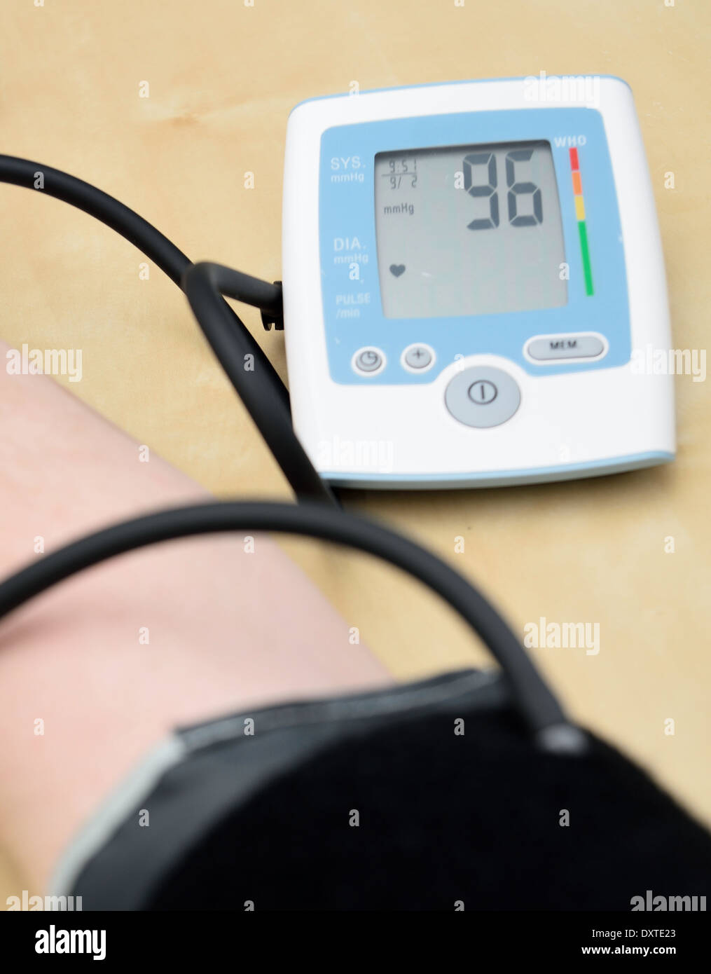 Instrument for measuring blood pressure on hand. Closeup shot. - Stock Image