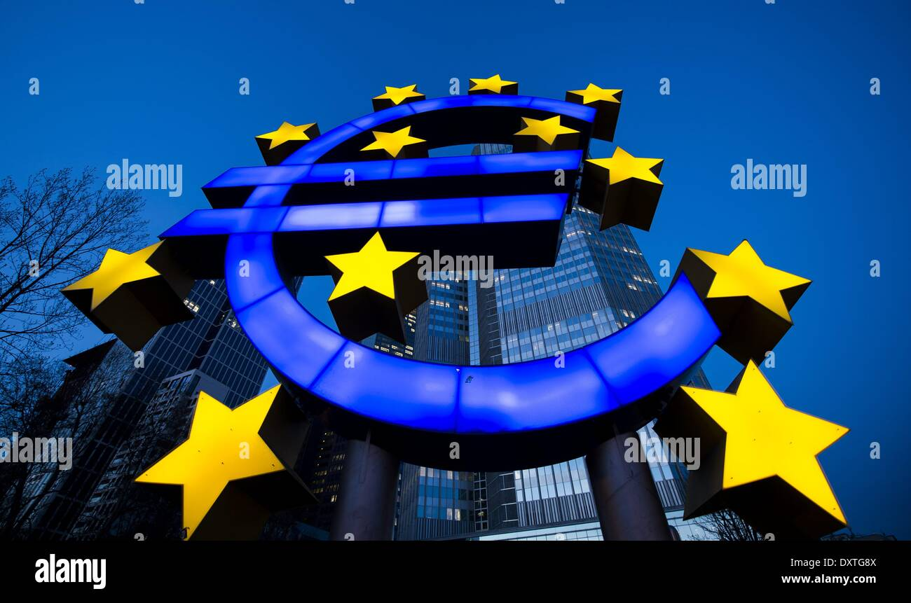 Frankfurt, Germany. 20th Mar, 2014. The stars of European Union (EU) membership sit on a euro sign sculpture outside Stock Photo