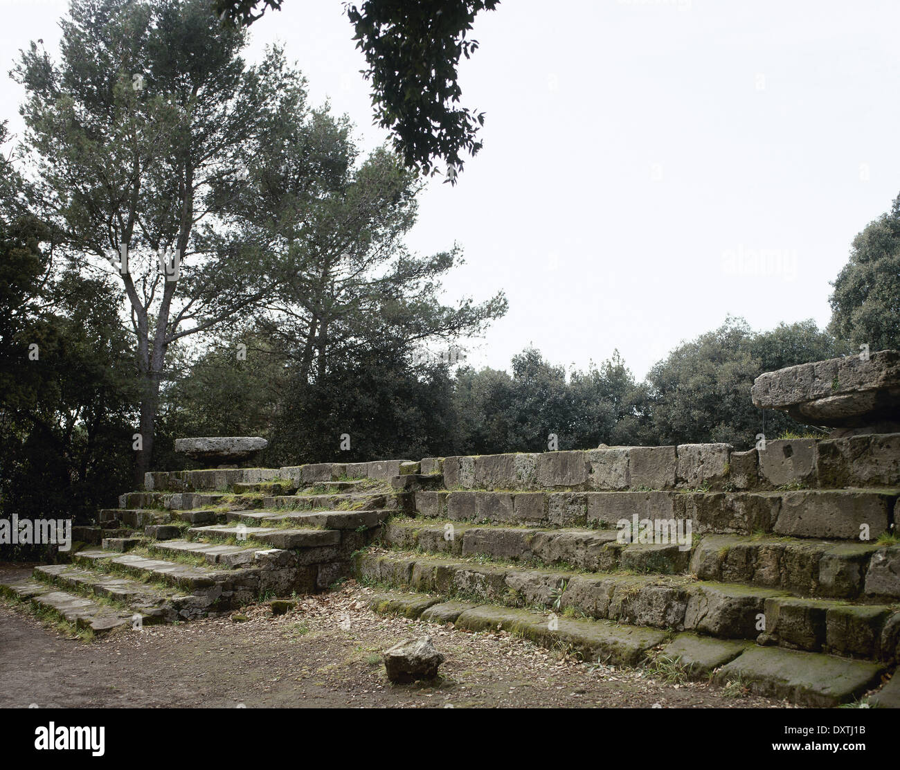 Pompeii. Triangular Forum. Doric Temple ruins. 6th century BC. Base and stands. - Stock Image