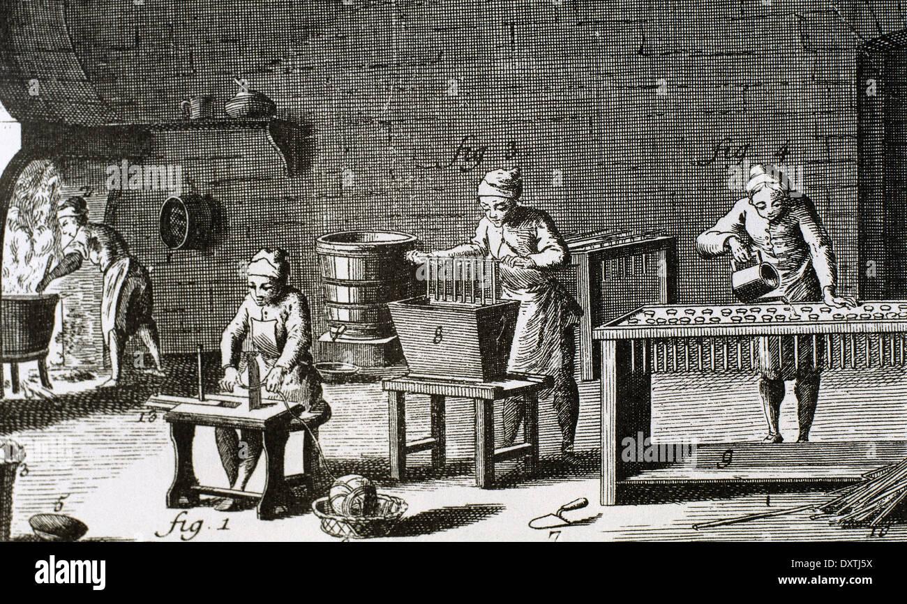 Workshop handmade candles. 18th century. Engraving in Encyclopedie by Diderot et d'Alembert. Engraving. - Stock Image