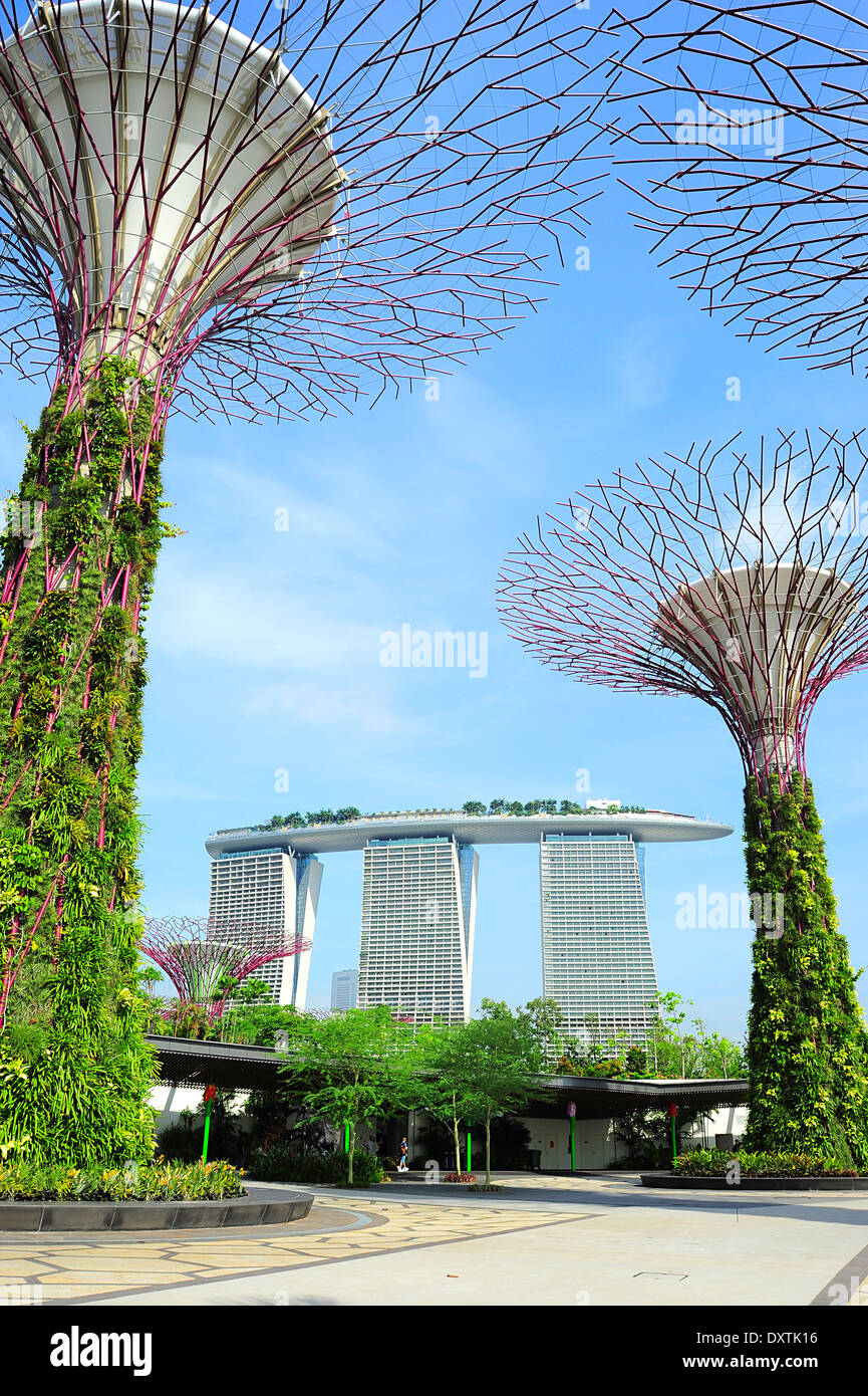 Gardens by the Bay and Marina Bay Sands hotel in Singapore. - Stock Image