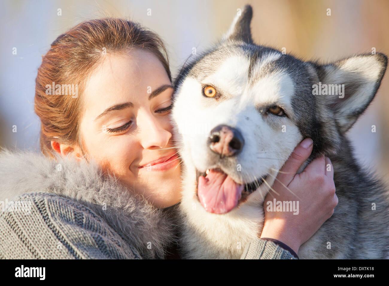 Woman with Husky, Portrait, Croatia - Stock Image