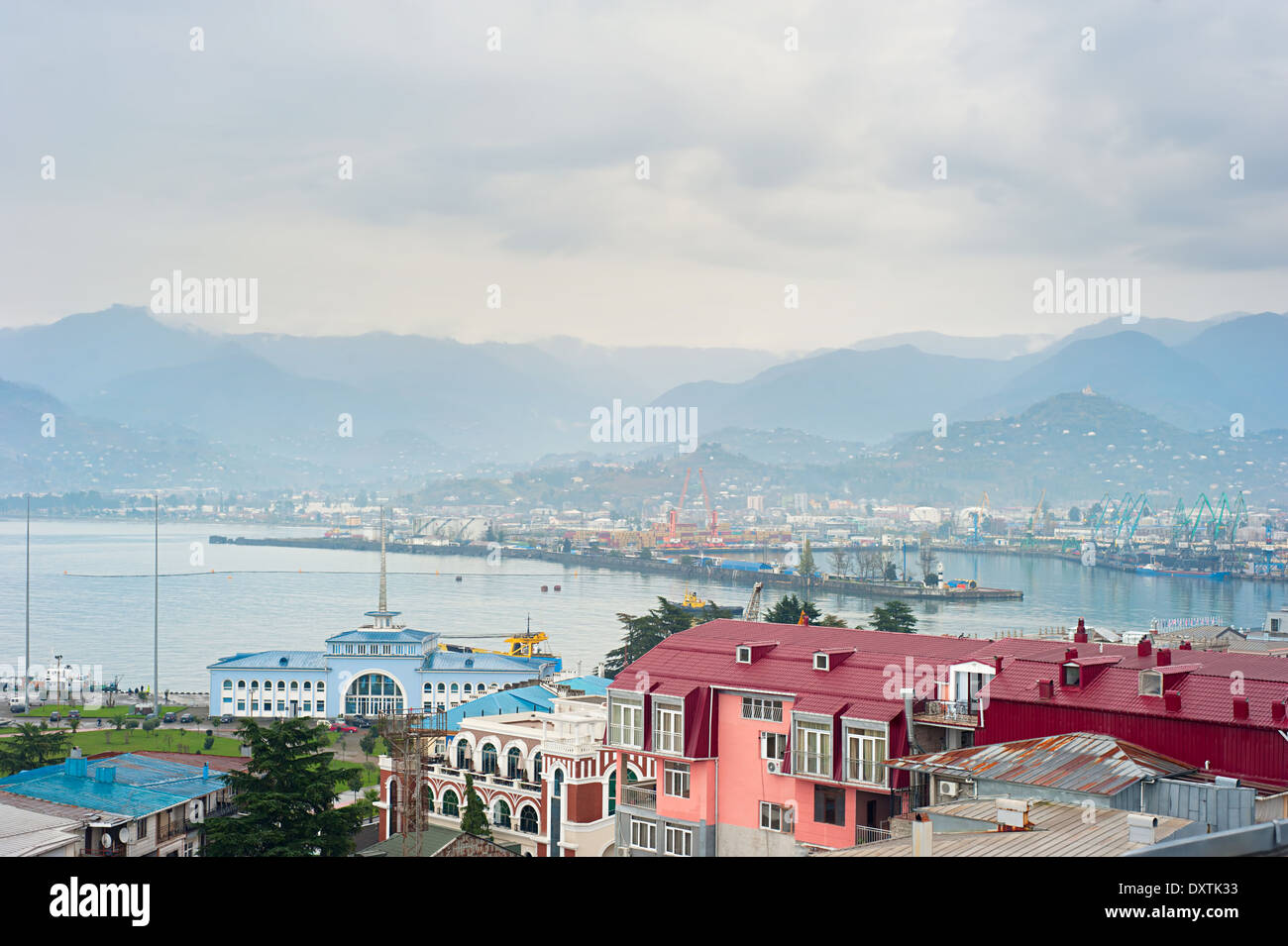 Aerial view of Batumi port , Georgia with mountains on background - Stock Image