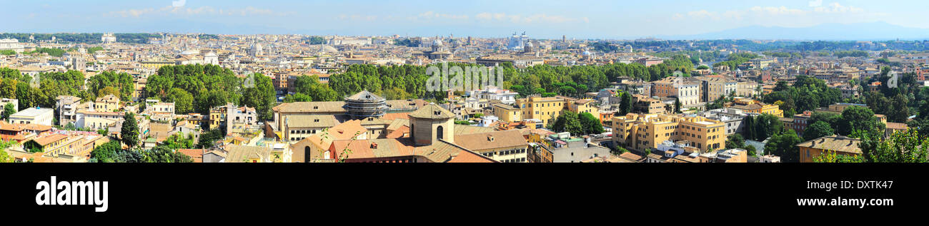 Wide panoramic view of Rome in the day. Italy - Stock Image