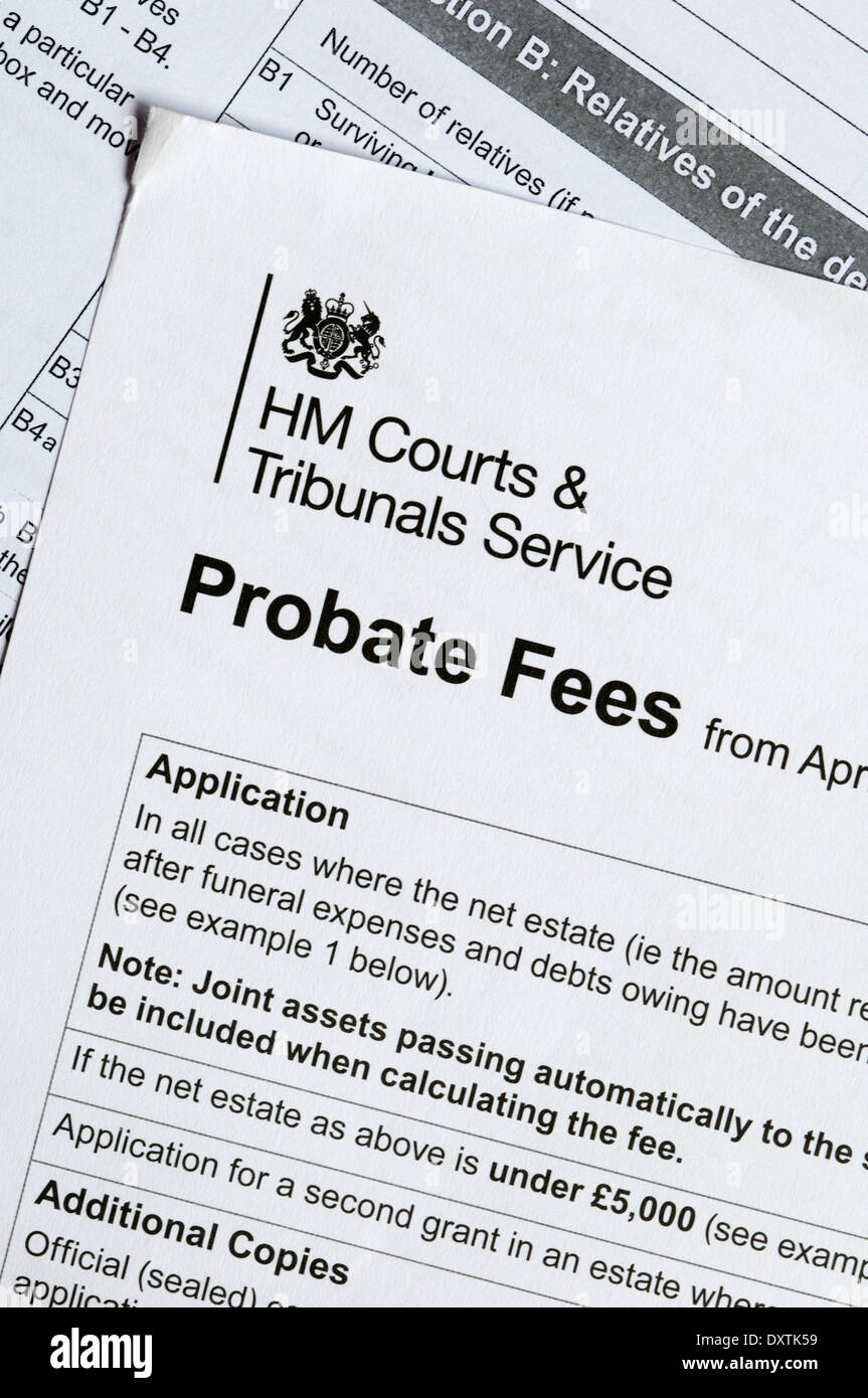 HM Courts & Tribunals Service leaflet PA3 'Probate Fees'. - Stock Image