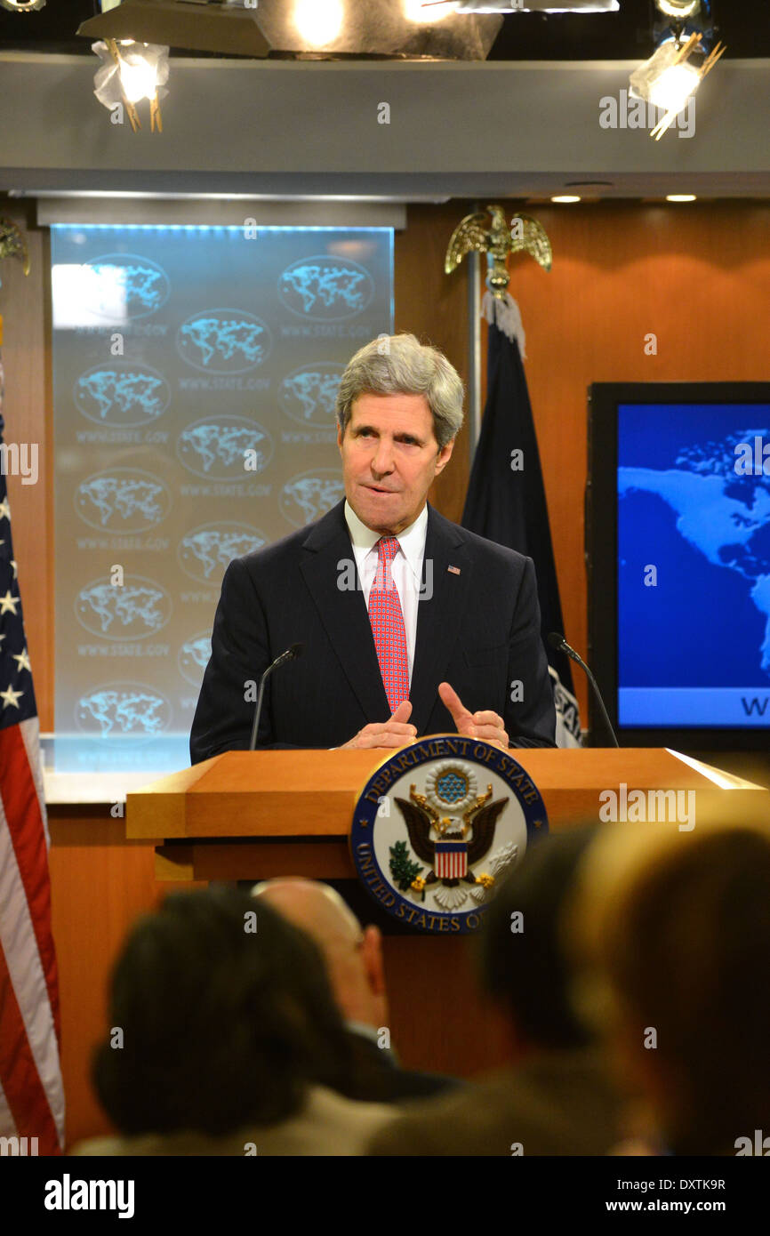 Secretary Kerry Releases the Annual Country Report on Human Rights Stock Photo